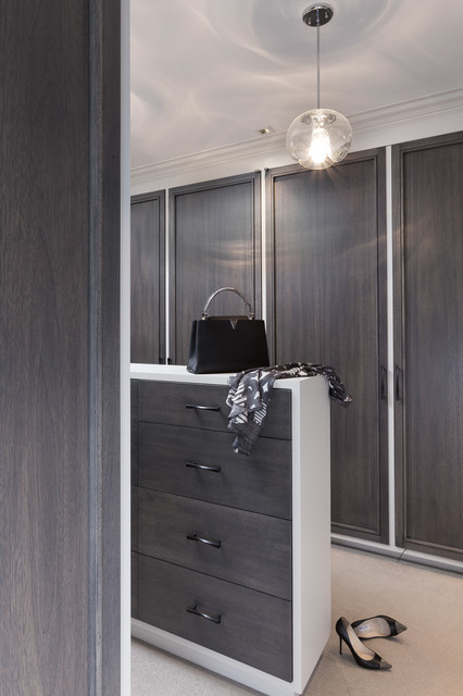 Walk-in closet - transitional women's carpeted walk-in closet idea in San Francisco with flat-panel cabinets and gray cabinets