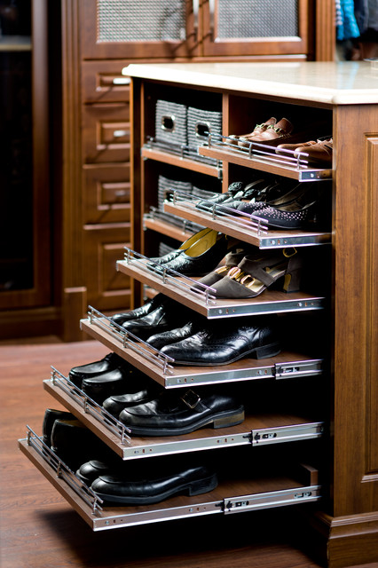 Elegant Pull Out Shoe Rack Traditional Closet