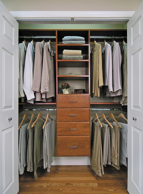 Reach in closet in cherry finish contemporary-closet