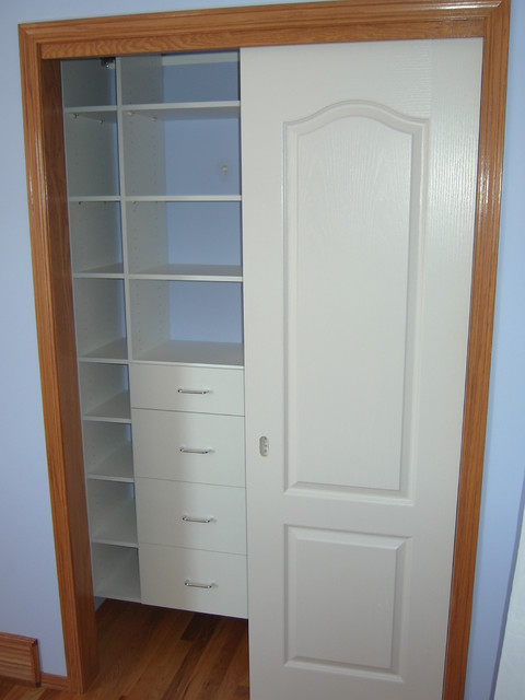 Reach In Closet With Sliding Doors Traditional