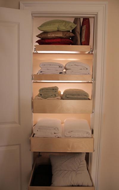 Roll out shelves for linen closet - Small closet lighting ideas ...