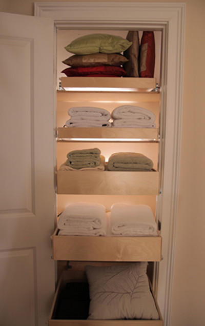 Roll Out Shelves for Linen Closet modern closet