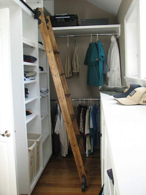 Exceptional Rolling Library Ladder Traditional Closet