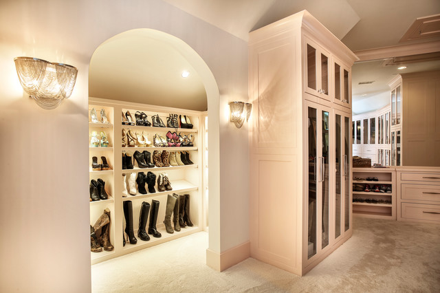 High Quality Shoe Display In Her Closet Transitional Wardrobe