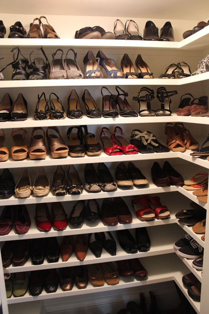 Shoe Shelves In Walk In Closet Traditional Closet