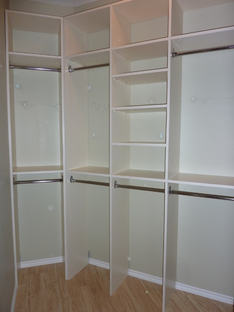 simple caster closet shelving to separate his and hers
