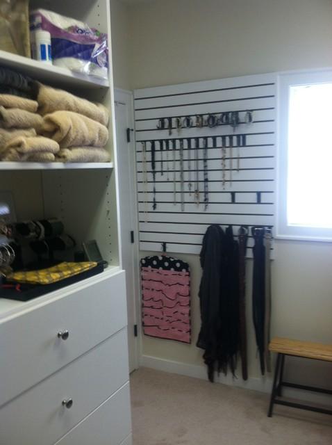 Slat Wall Storage Traditional Closet