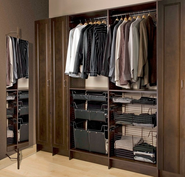 Slick men 39 s closet wall unit modern closet toronto for Men s walk in wardrobe