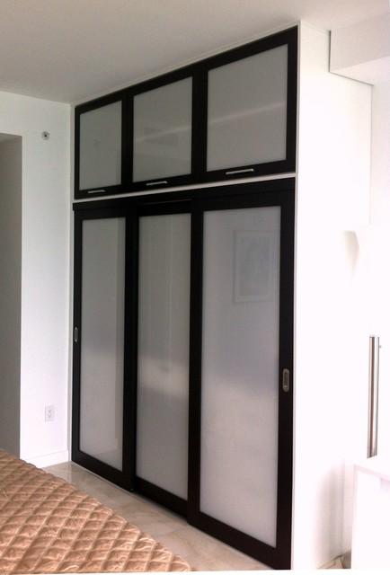 Sliding Doors Wenge Opal Resin Insert Contemporary Closet Miami