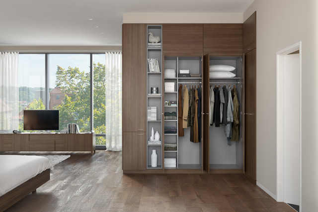 reach in closet mid sized modern gender neutral medium tone wood floor - Built In Wardrobe
