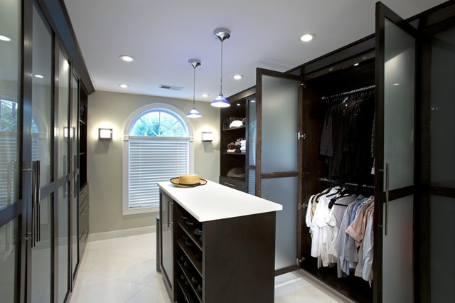 Spa Treatment at Home with Stunning Bath and Walk-in Closet modern-closet