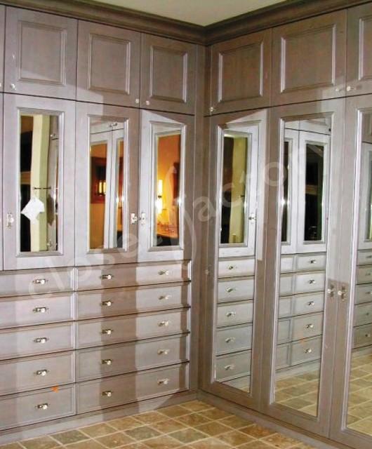Spectacular Antiqued Grey Wood Closet Traditional Closet
