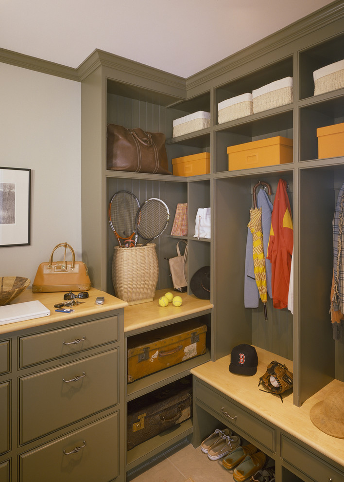 Elegant reach-in closet photo in Boston with open cabinets and green cabinets