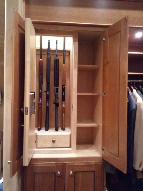 Stealth shotgun rifle locker traditional closet for Walk in gun safe plans