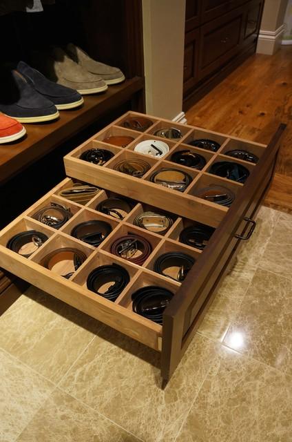 Amazing Storage Ideas   Belts Transitional Closet