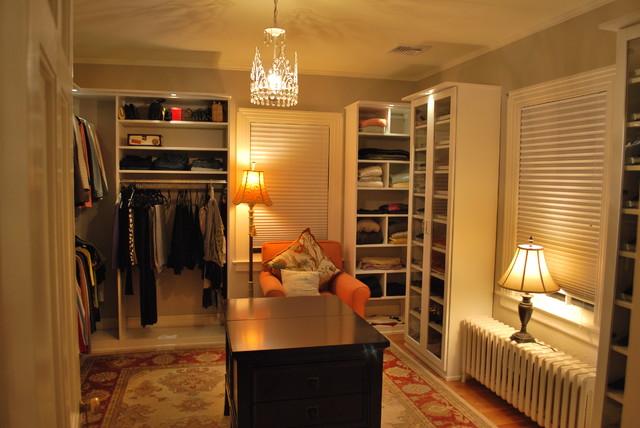 Stunning Women's Walk In Closet with Lighting ...