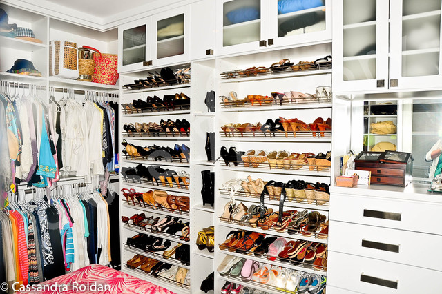 Stylish white walk in closet modern closet miami Stylish shoe rack