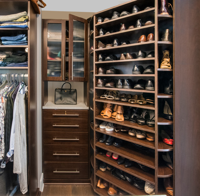 The 360 Organizer® Shoe Spinner And Custom Closet Hutch With Reeded Glass  Doors Modern