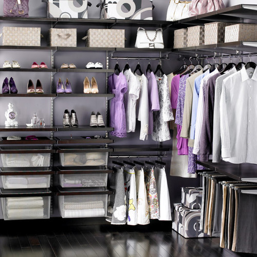The Container Store > Walnut & Platinum elfa décor Walk-In Closet contemporary closet
