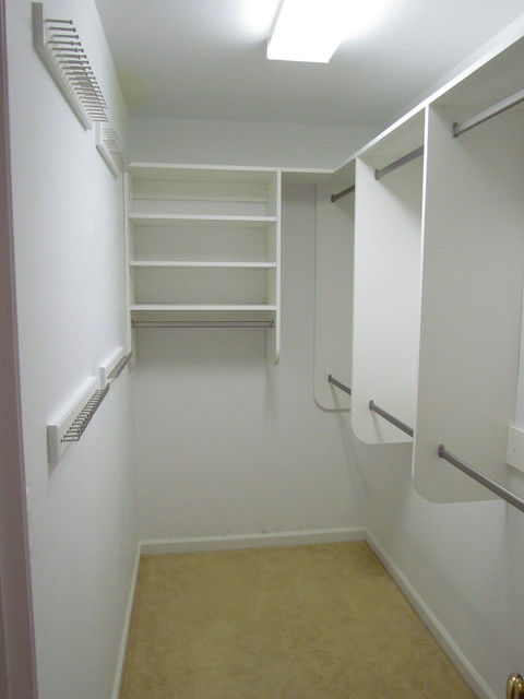 Narrow Walk In Closet With Vanity