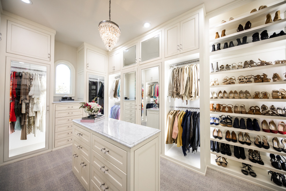 Closet - transitional women's white floor closet idea in Dallas with beaded inset cabinets and white cabinets