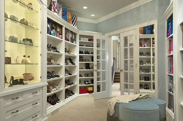 Dressing room - contemporary women's carpeted dressing room idea in Minneapolis with open cabinets and white cabinets