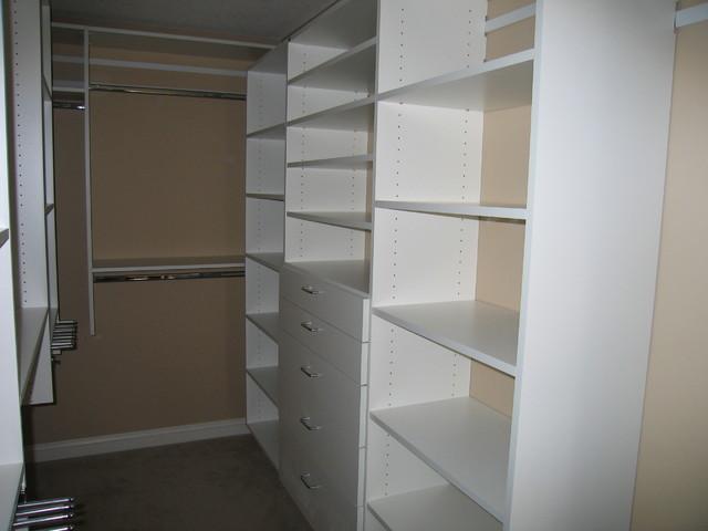 Walk-in bedroom closets (white) contemporary-closet