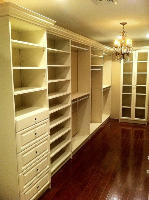 Walk-In Closet in Almond traditional closet