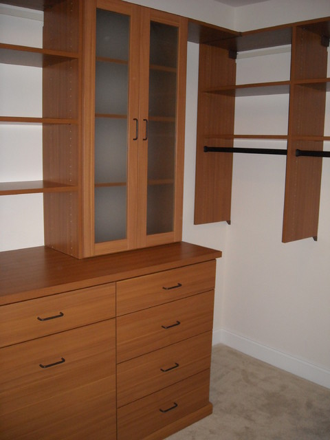 Walk In Closet in Rosewood finish traditional-closet