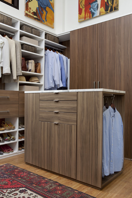 Walk-In Closet in Walnut and White Melamine contemporary-closet