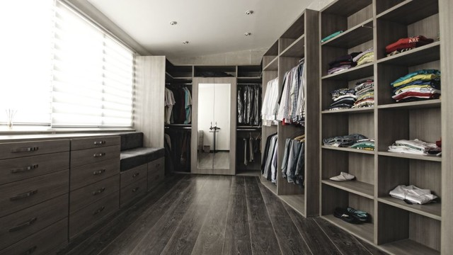 Walk In Closet Under Window Contemporary Closet By