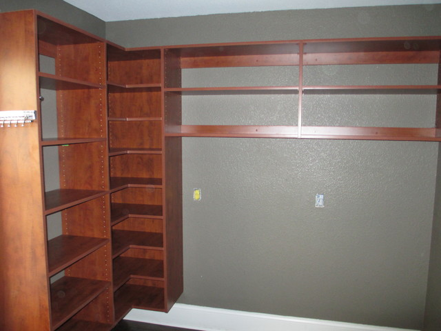 walk in closet w l shaped corner shelves in summer flame