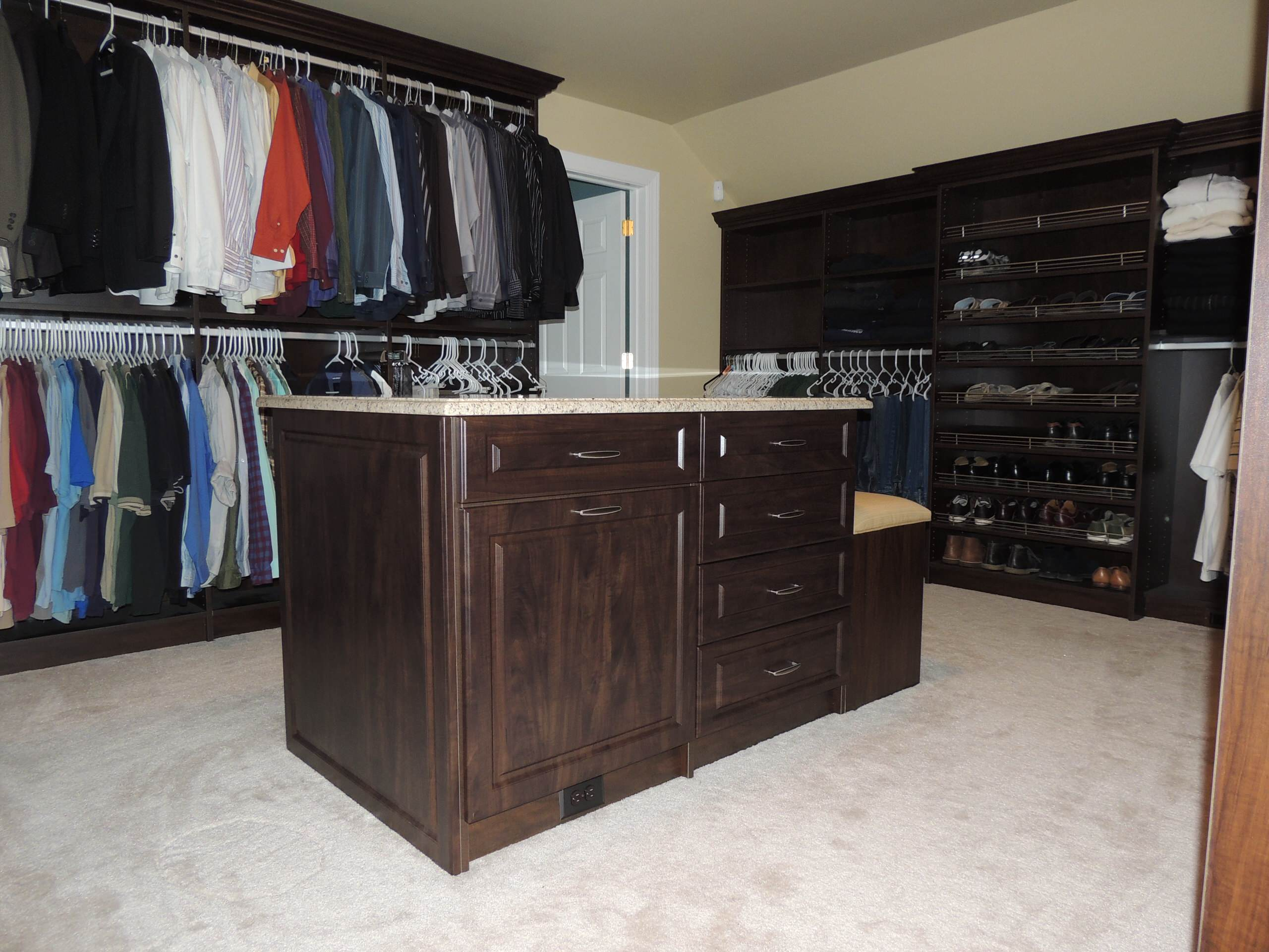 Walk in Closet with Bench Seats