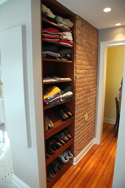 Walk In Closet With Exposed Brick Chimney Eclectic
