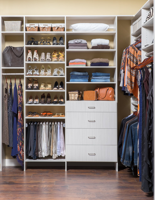 Superieur Walk In Ladies Flat Panel Closet Organizer In An Arctic Finish Contemporary  Closet