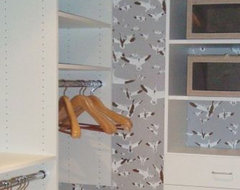 wallpapered closet eclectic closet