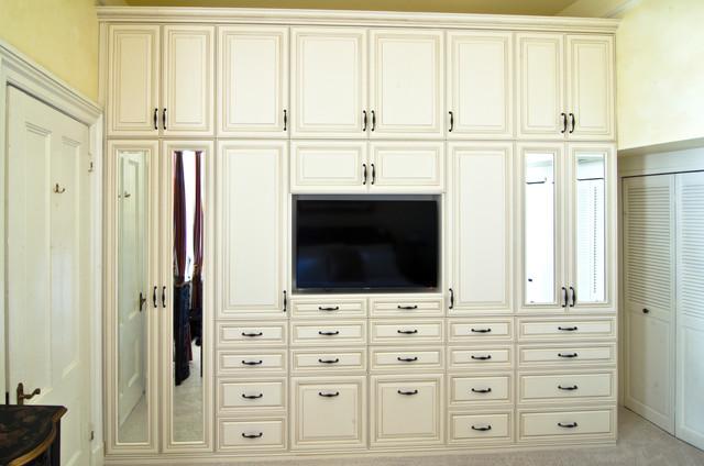 Wardrobe U0026 Media Unit With Antique White Glazed RTF Fronts Traditional  Closet