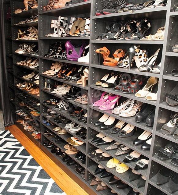 What does a stylists shoe and handbag closet look like? contemporary-closet