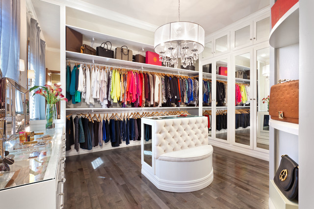 White Glam Closet transitional-closet