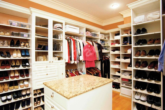 White Master Closet With Island Traditional Closet