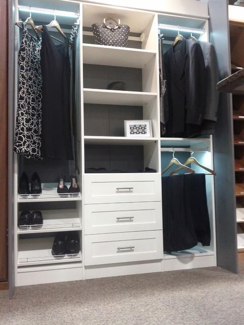 White Melamine Reach In Closet Traditional Wardrobe