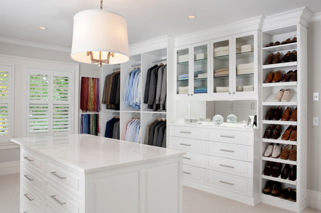 white painted maple wood walk-in closet & dressing room