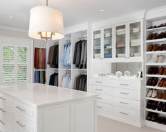 White Painted Maple Wood Walk-In Closet & Dressing Room, Westchester County, NY traditional-closet