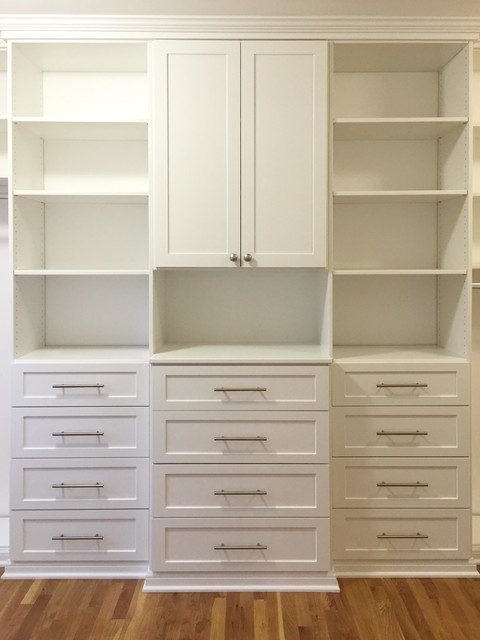 White Shaker Walk In Transitional Closet