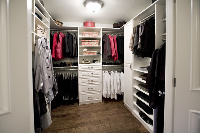 White Walk In Closet white melamine walk in closet in with foil fronts - traditional