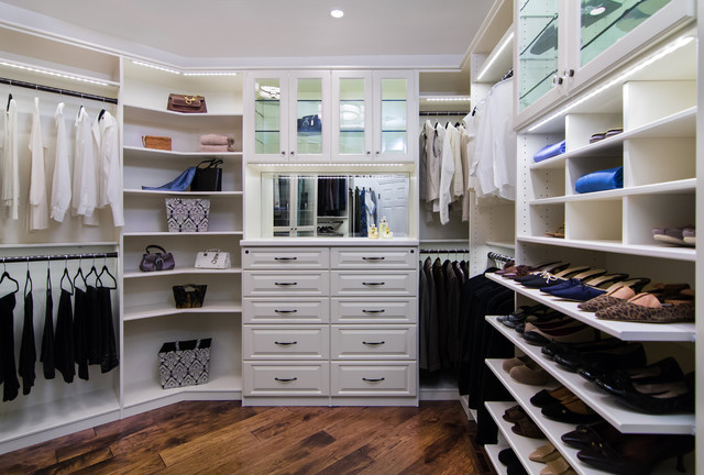 White Melamine With Raised Panel Foil Fronts And LED Lighting Traditional  Closet San Francisco