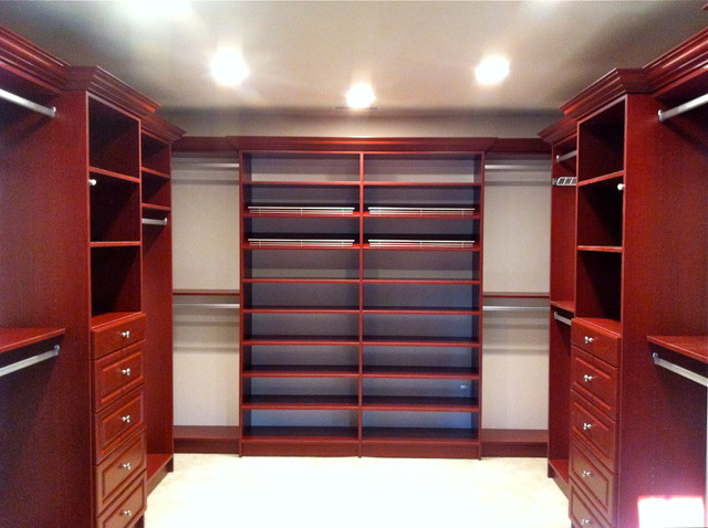 Master Bedroom Closet wild cherry master bedroom closet - traditional - closet - new