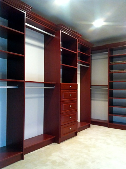 Wild Cherry Master Bedroom Closet - Traditional - Closet - Other - by Bella Systems - Custom Closets