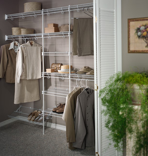 Bedroom Walk In Closet Design Ideas White Wooden Shelvingl Shaped Light Brown Particle Board Small Chair