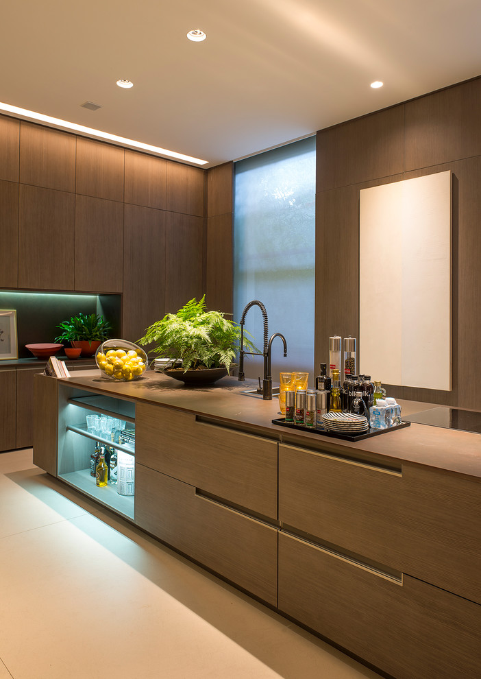 Open concept kitchen - large modern single-wall beige floor open concept kitchen idea in Other with flat-panel cabinets, light wood cabinets and an island